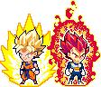 Chibi ULSW God Vegeta and SSJ Goku by Feyrnand