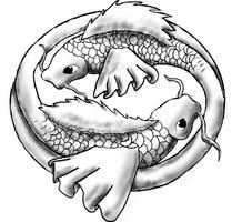 Fish tattoo black and white by JollySpaceFox
