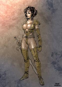 Marina in leather armor by Oscar Celestini