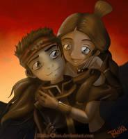 Katara and Aang:Love at sunset by Rinka-Chan