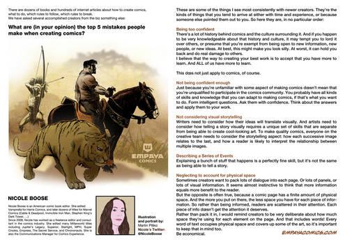 Top 5 mistakes when creating comics: Nicole Boose