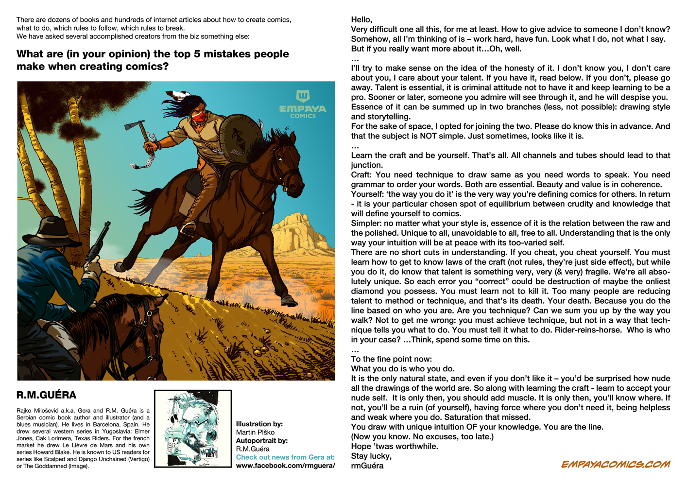 Top 5 mistakes when creating comics: R.M.Guera by EMPAYAcomics