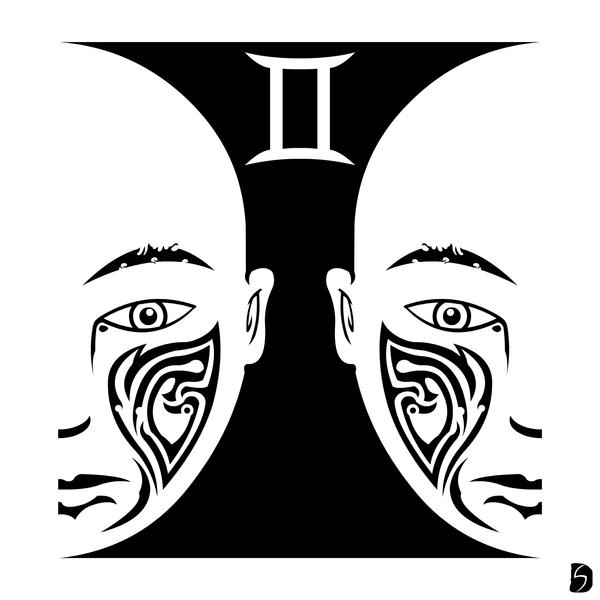 Tribal zodiac gemini by gifhaas on deviantart for Gemini tribal tattoo