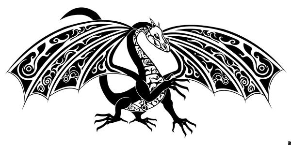 tribal dragon black and white by gifhaas on deviantart