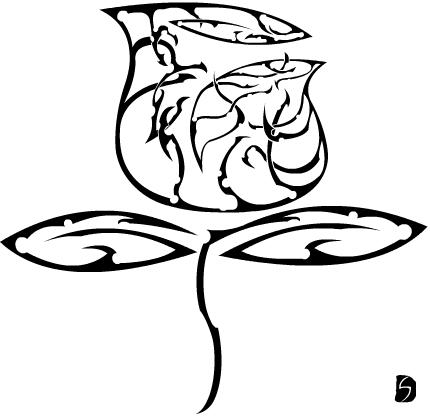 Flower Tribal Rose Tattoo