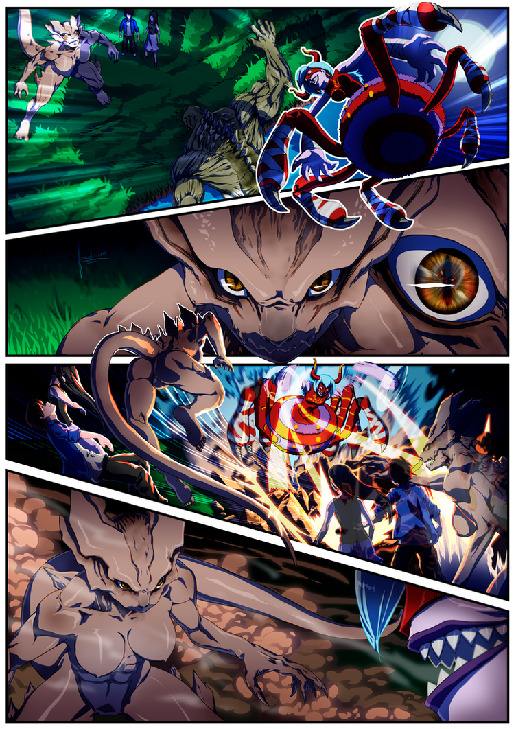 Commission Comic Page Hellcat vs Arukenimon by fradarlin