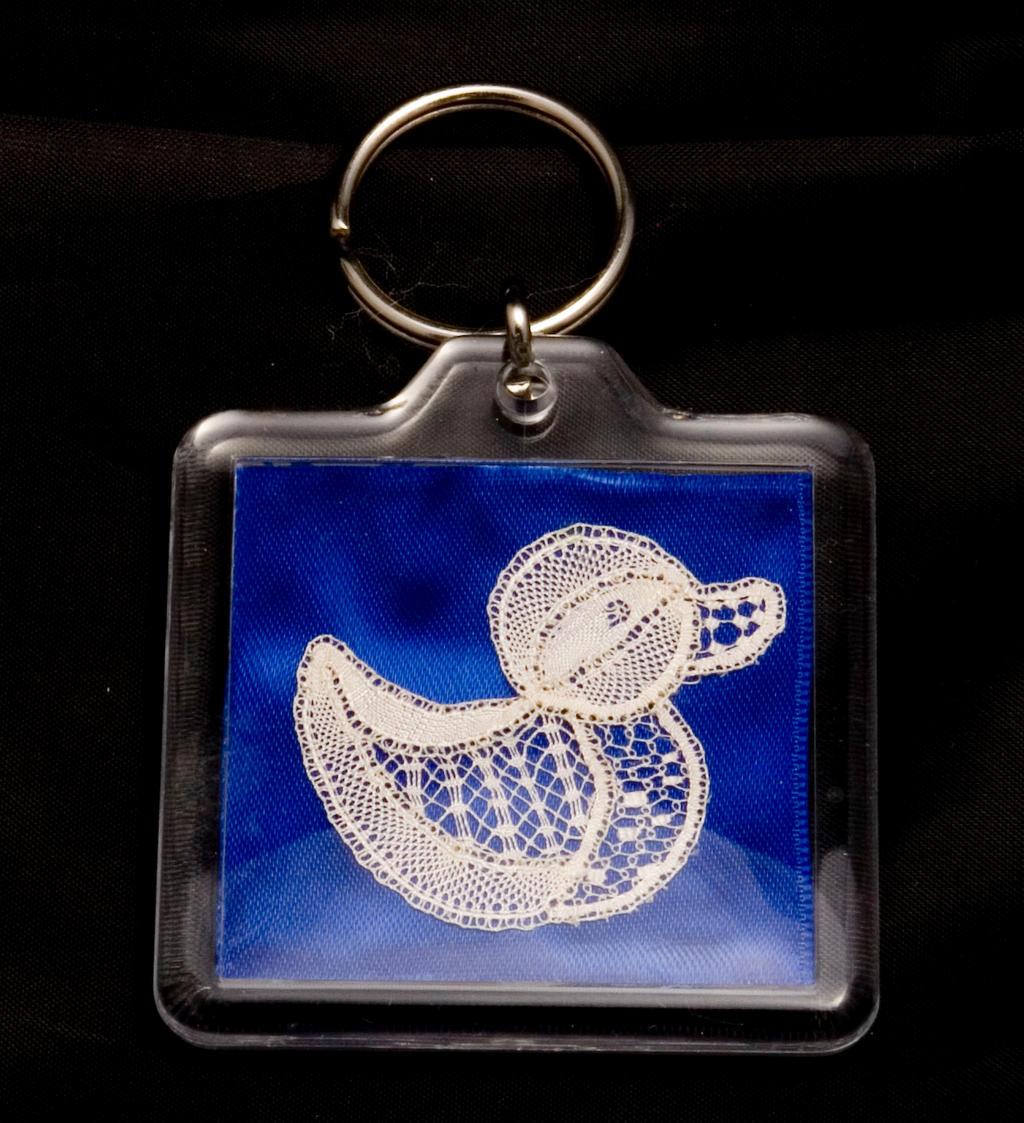 silk bobbin lace duck keyring by averil-hylton