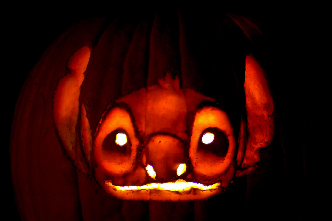 Stitch pumpkin carving by chris p nugget on deviantart