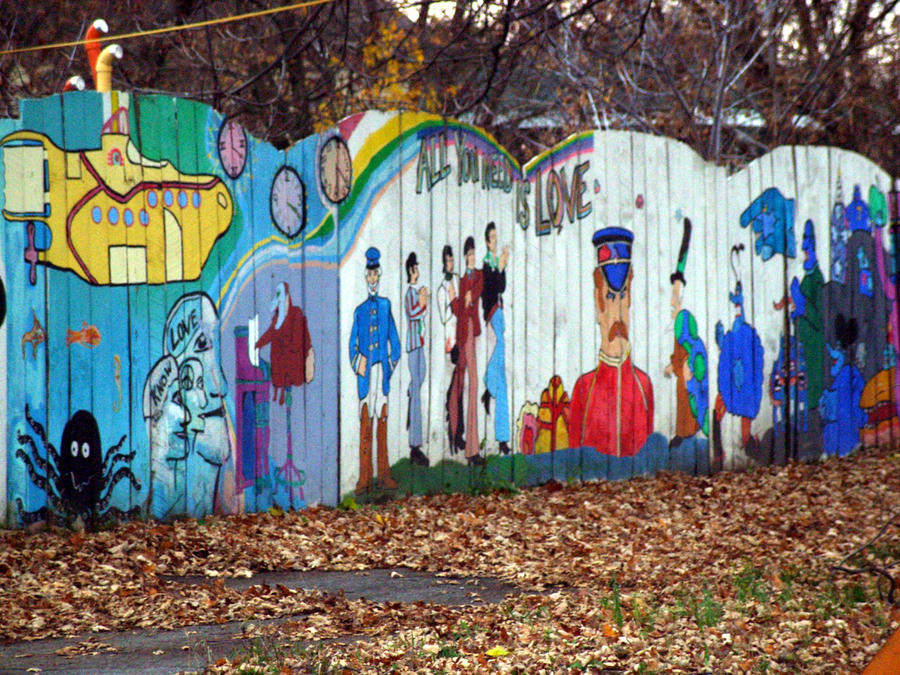 Beatles fence mural by ryosgold on deviantart for Beatles wall mural