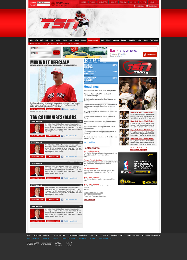 TSN Website Redesign by infinitestudios