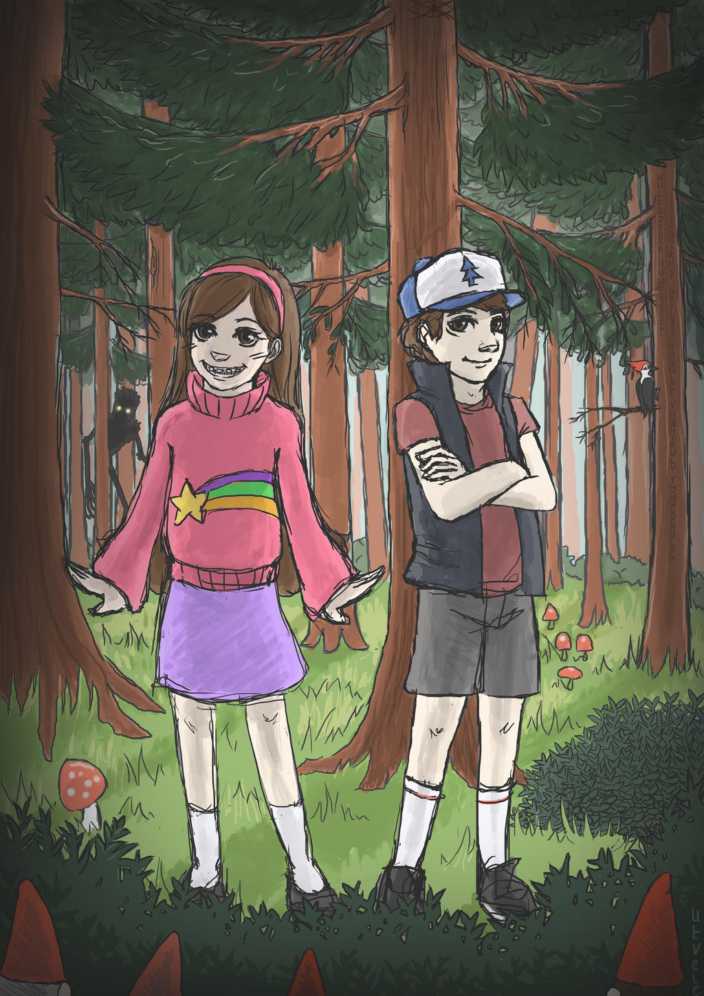 Gravity Falls - woodland walk by Utvele