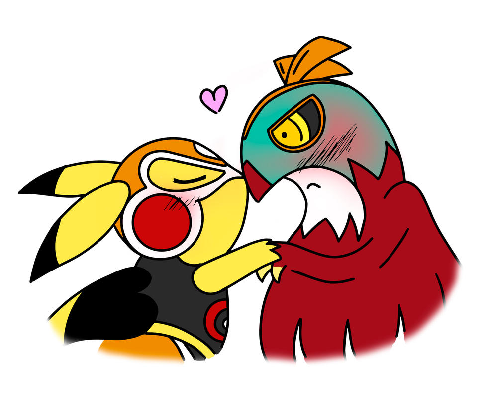 Pikachu Hawlucha Kiss by NetsuKirkland
