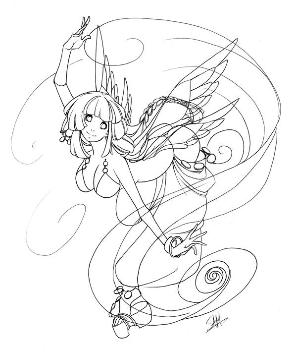 Fairy Lineart - Budgie by shaded-stock on DeviantArt
