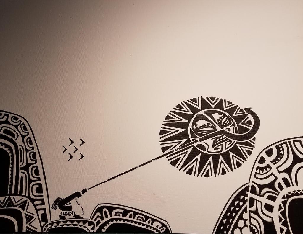 Maui tattoo moana spray paint stencil by toolowbrow on for Maui tattoo stencil