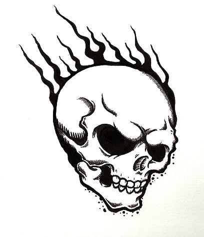 flaming skull tattoos