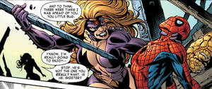 Titania beating up Spiderman