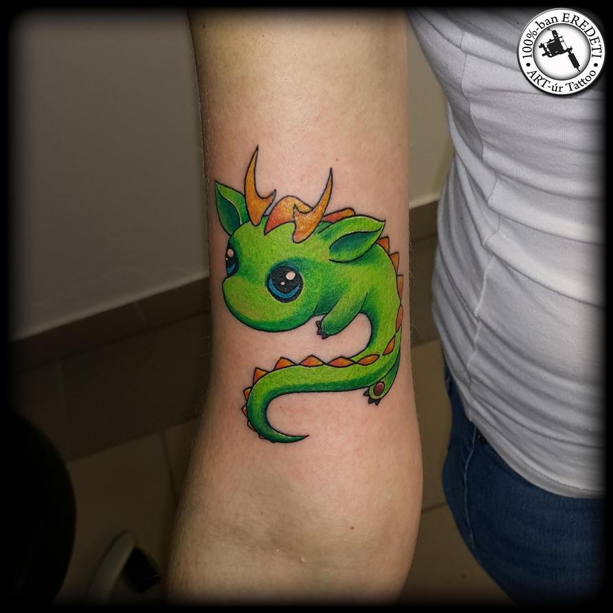 a little cute dragon by arturtattooart on deviantart rh deviantart com small cute dragon tattoos cute little dragon tattoos
