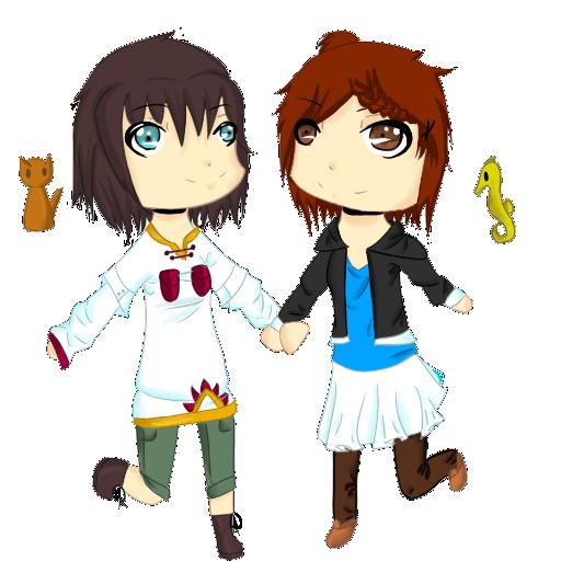 Isolde and Hikari Chibis by HoneyMochaCat