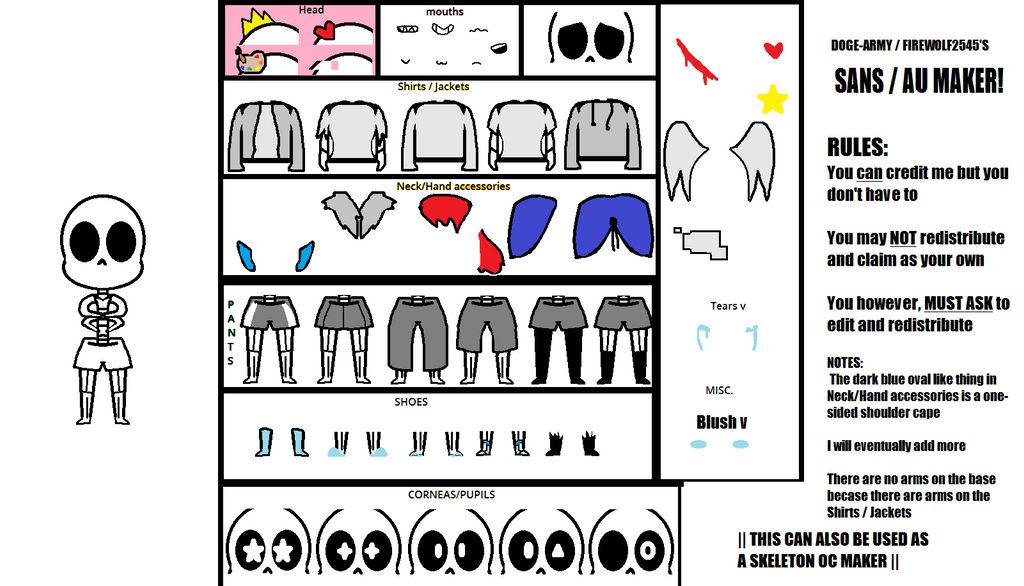 Sans Au Maker \ Skeleton OC Maker by Doge-Army on DeviantArt