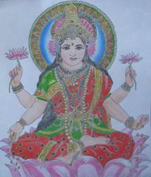 Lakshmi (indian goddess) by sonya-ravji