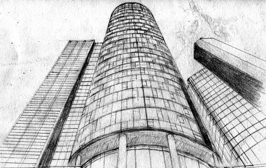 Tall Buildings Sketch Skyscrapers Pencil Drawing By Amndesigns On Deviantart
