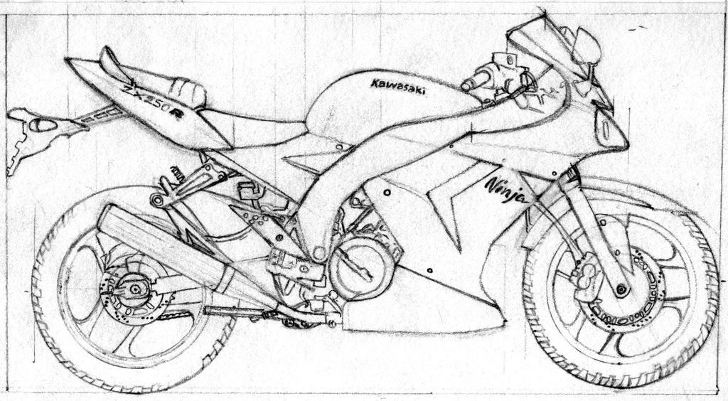Kawasaki Ninja 250 Drawing Sketch