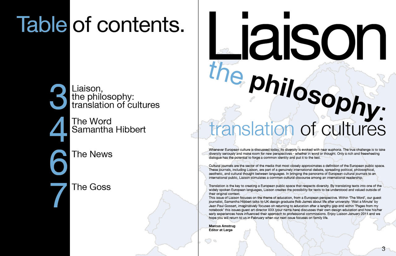 Liaison education magazine table of contents by for Table of contents design