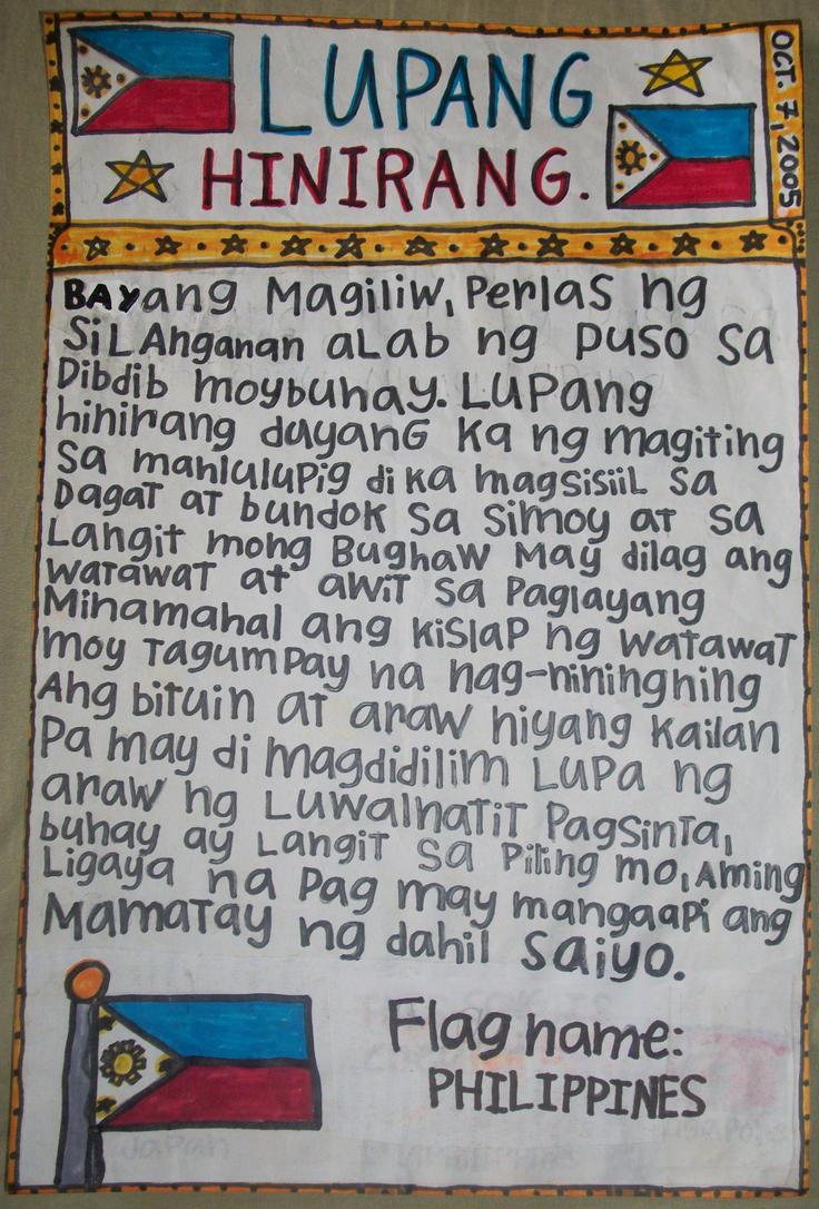 the story of philippine national anthem Lyrics to 'lupang hinirang ( philippine national anthem )' by david gates: lupa ng araw ng luwalhati't pag sinta buhay ay langit sa piling mo aming ligaya nang.