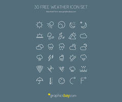 30 weather icons by GraphicsBayResources