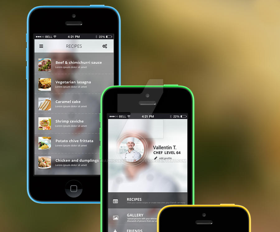 Cooking APP UI KIT by GraphicsBayResources
