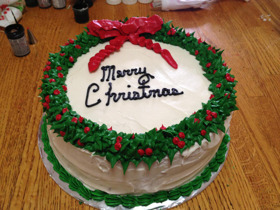 Wreath Christmas Cake Piped