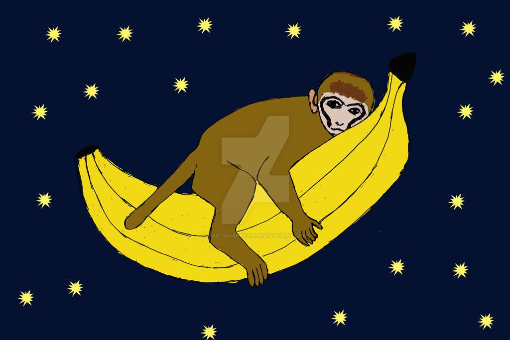 Baby monkey riding a banana through space
