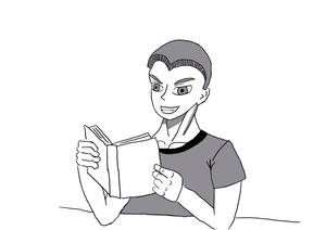 Cute boy reading a book and smiling