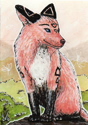 ACEO pink champagne Fox by MargotShareaza