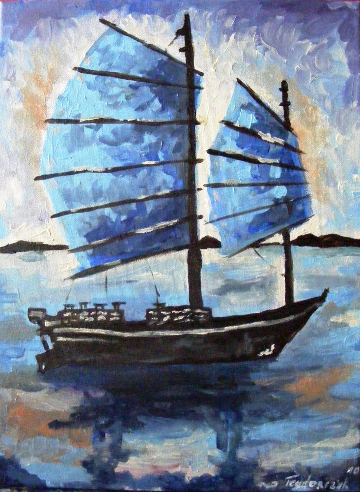 Blue boat junk by Monttsserat
