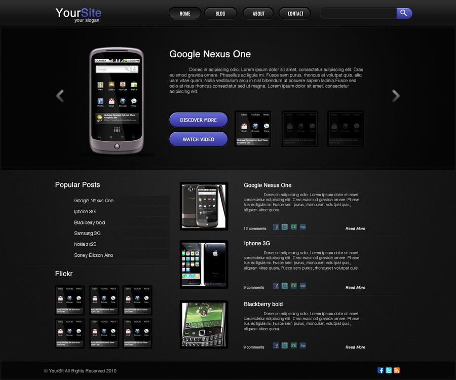 Dark Sleek Blog Template by burnstudio