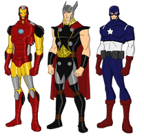 Avengers Big Three Redesigns by jsenior