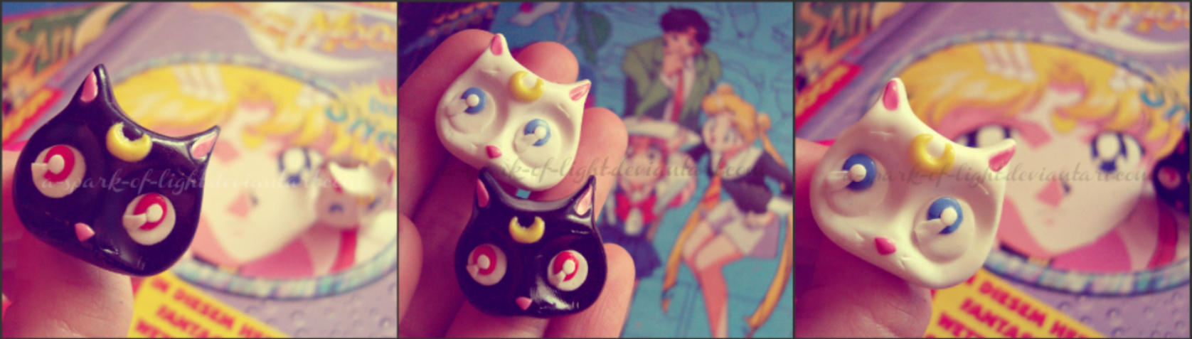 200th deviation Sailor Moon Luna and Artemis rings by A-Spark-Of-Light