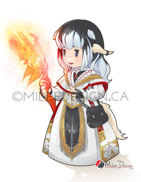 FFXIV Fanart Commission : Aura Chibi White Mage by Milee-Design