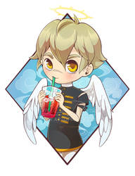 Little angel drinking tea