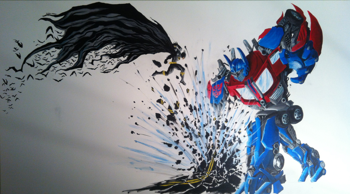Optimusprime vs batman mural by ricachetclip on deviantart for Batman mural wallpaper