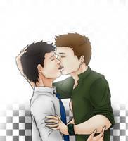 Kissing Destiel by ste3o
