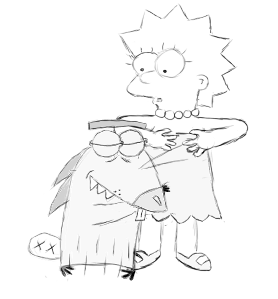 Dag Hugging Lisa sketch by Paddixx