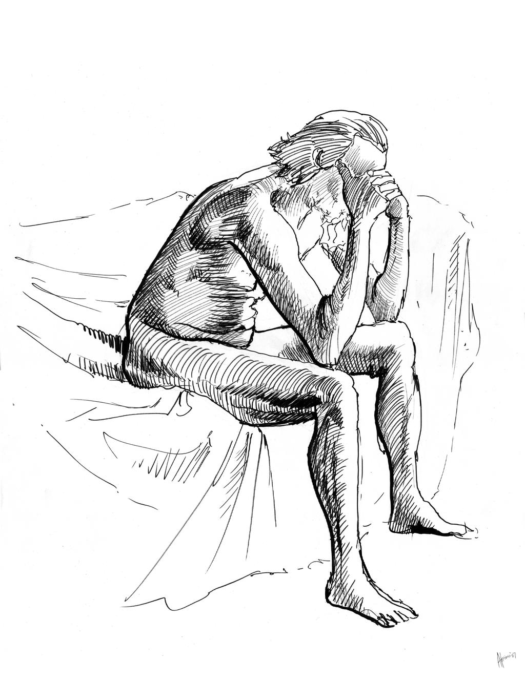 Life Drawing Man Sitting 07 by Valnor