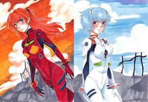 . Rei and Asuka . by AsuHan
