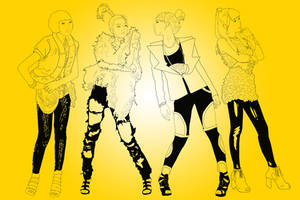 2ne1 Lineart by Hyung86