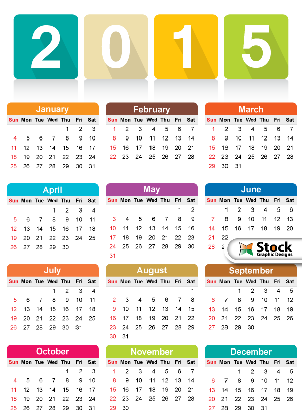 Free Colorful Calendar 2015 Vector Template By Stockgraphicdesigns