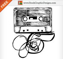 Hand Drawn Audio Cassette Vector by Stockgraphicdesigns