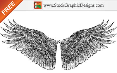 Free Hand Drawn Wings Vector by Stockgraphicdesigns