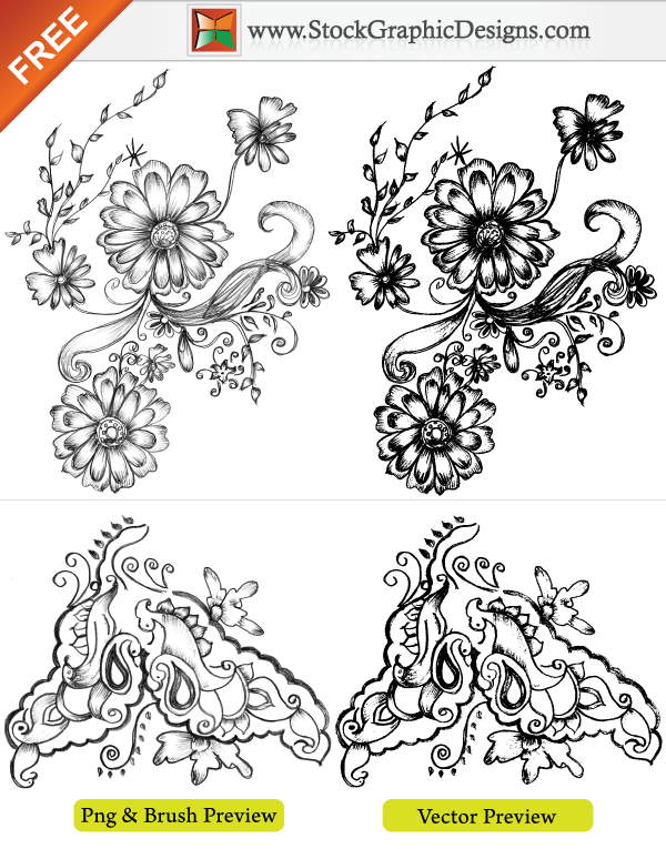 Hand Drawn Sketchy Decorative Elements Brush by Stockgraphicdesigns